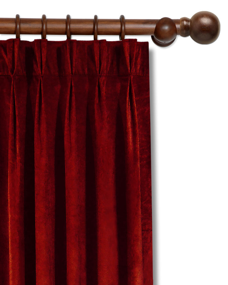 red curtain homescapes curtains backs pair velvet wine tie jacquard